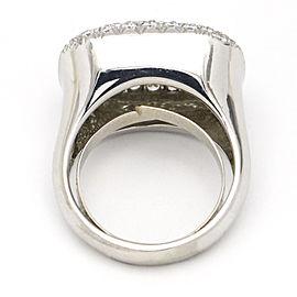3.35 Carat 18k White Gold Pave Diamond Rectangular Fashion Ring