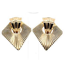 Fine Estate 14k Yellow Gold Sun Burst Shield Clip Earrings 17.3 Grams