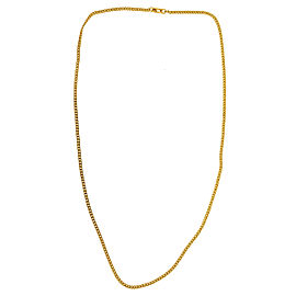 14k Yellow Gold Solid Thin Curb Chain Necklace