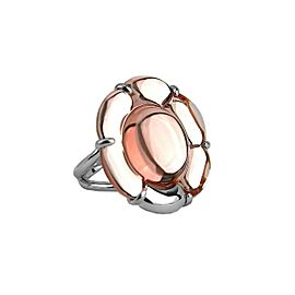 BACCARAT JEWELRY B FLOWER ST. SILVER LIGHT PINK MIRROR LARGE RING SZ 8-57 NO BOX