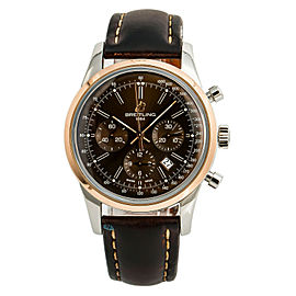 Breitling Transocean UB0152 Mens Automatic Watch Chocolate Dial Box & Paper 43mm