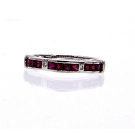 Fine estate 18k White Gold Ruby Diamond Wave Band Ring 2.8 Grams Size 7.5