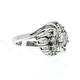 14K WHITE GOLD 1.0ct DIAMOND CLUSTER LADIES RING SIZE 5.5