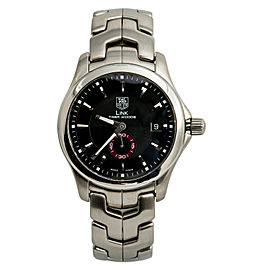 Tag Heuer Link WJ2110 Mens Automatic Tiger Woods Watch Black Dial Stainless 39mm