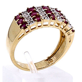 Fine estate 14k Yellow Gold Diamond Ruby Ring 4.4 Grams Size 7.25