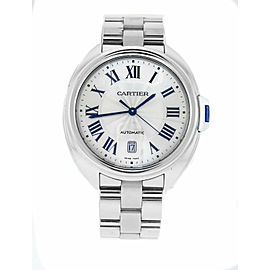 Cartier Cle 3850 WSCL0007 Mens Automatic Stainless Steel Watch Silver Dial 40mm
