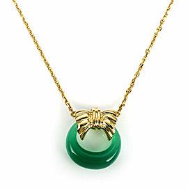 Van Cleef & Arpels Green Onyx 18k Yellow Gold Wreath Pendant