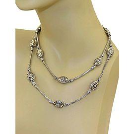 """John Hardy Jaisalmer Sterling 18k Gold 14 Oval Station Woven Chain Necklace 36"""""""