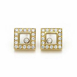 Chopard Happy Diamond 18k Yellow Gold Square Diamond Bezel Stud Earrings