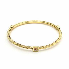 David Yurman Citrine 3 Stone 18k Yellow Gold Cable Bangle Bracelet