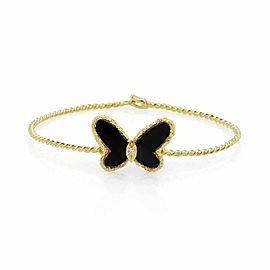 Van Cleef & Arpels Diamond Onyx Butterfly 18k Yellow Gold Wire Bangle