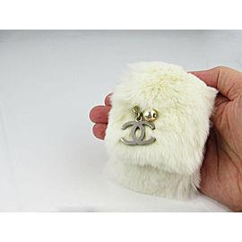 Chanel Lapin White Fur Faux Pearl Metal C Logo Charm Wide Press Clasp Bracelet