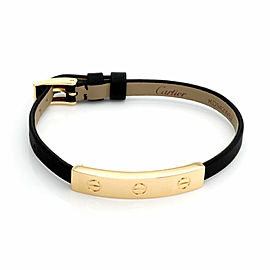 Cartier 18k Yellow Gold Slide Bar Leather Belt & Buckle Bracelet w/Paper