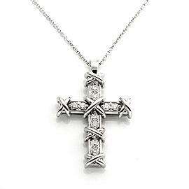 Tiffany & Co. Schlumberger Ten Stone Cross Diamond Platinum Pendant Necklace