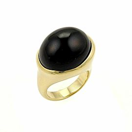Tiffany & Co. Peretti Cabochon Black Jade 18k Yellow Gold Ring Size 6