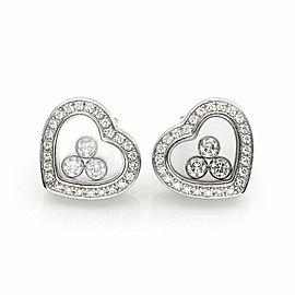 Chopard Happy Diamond 18k White Gold Diamond Heart Bezel Stud Earrings