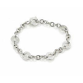 Bulgari 18k White Gold 6 Engraved Circle Link Chain Bracelet