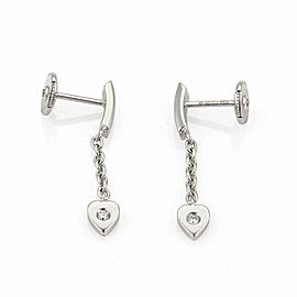 Cartier Mon Amour Diamond 18k White Gold Hearts Dangle Earrings