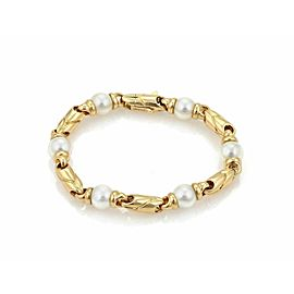 Bulgari Pearls 18k Yellow Gold Fancy Link Bracelet