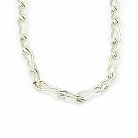 Gucci Sterling Silver Long Wave Link Large Chain Necklace