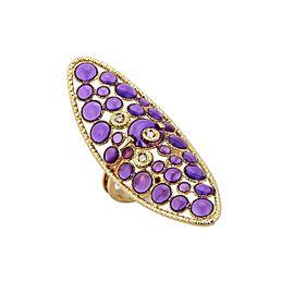 Roberto Coin Diamond Purple Enamel 18k Gold Long Finger Ring Rt. $3,300
