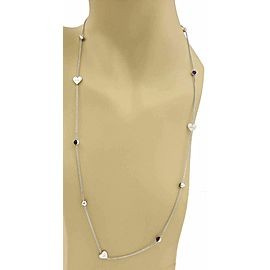 """Gucci Amethyst Sterling Silver Hearts & Dots Chain Necklace 29.75"""""""