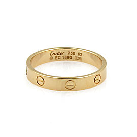 Cartier Mini Love 18k Yellow Gold 4mm Band Ring Size 62 US 10