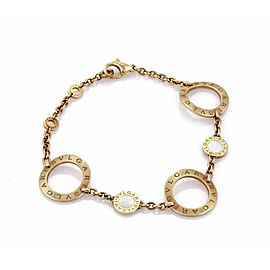 Bulgari Signature Mother of Pearl 18k Gold 3 Large Circle Link Bracelet