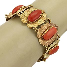 Antique Oval Cabochon Coral 18k Two Tone Gold Textured Leaf Link Bracelet