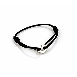 Cartier C Hearts 18k White Gold Heart Charm Black Cord Bracelet