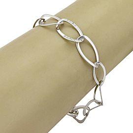 Diamond & Platinum Long Flat Oval Chain Link Bracelet