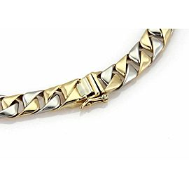 """Square Curb Link Chain Bracelet in Platinum & 18k Yellow Gold 7"""" Long"""