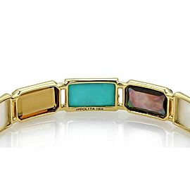Ippolita Rock Candy Rectangular 12 Gems 18k Yellow Gold Bangle Rt. $6,495