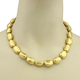 Gurhan Classic Nugget 24k Gold Hand Hammered Pebble Link Necklace