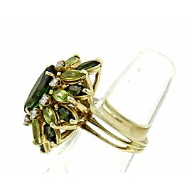 Le Triomphe Diamond & Tourmaline 14k Yellow Gold Cluster Ring