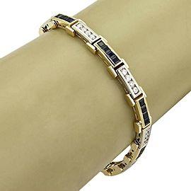 vintage 4.80ct Diamond & Sapphire 18k Two Tone Gold Long Bar Bracelet