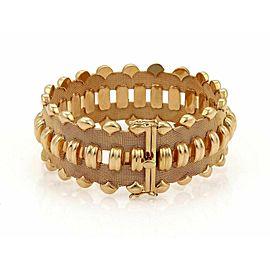 Designer 18k Yellow Gold 25mm Wide Fancy Mesh & Curve Bar Link Bracelet