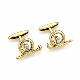 Chopard Happy Diamond 18k Yellow Gold Golf Spinner Stud Cufflinks