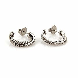 David Yurman Diamond Ice Crossover Sterling Silver Hoop Earrings