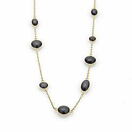 "Roberto Coin Diamond & Grey Enamel 18k Yellow Gold Toggle Necklace 35"""