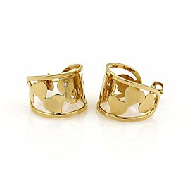 Roberto Coin Diamond 18k Yellow Gold Hearts Open Wide Hoop Earrings