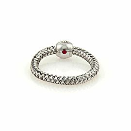 Roberto Coin Primavera Diamond 18k White Gold Basket Weave Ring