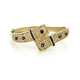 Estate Diamond & Sapphire 14k Yellow Gold Hinged Bypass Bracelet