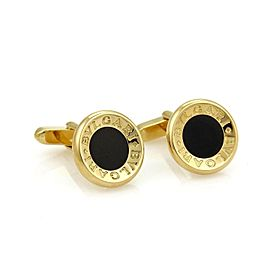 Bulgari Signature Onyx 18K Yellow Gold Concave Circle Cufflinks