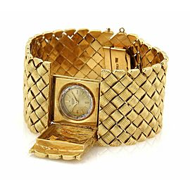 "Retro 18k Yellow Gold Hidden Watch 1.25"" Wide Fancy Design Bracelet"