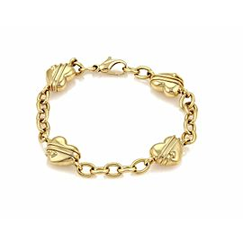 Tiffany & Co. Cupid 4 Heart Charms Oval Chain Link 18k Gold Bracelet