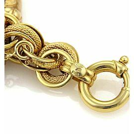 Estate Enamel Hefty 10 Charms Large Triple Link 14k Yellow Gold Bracelet