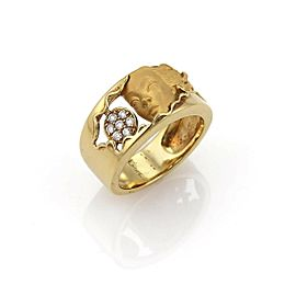 Carrera y Carrera Diamond 18k Yellow Gold Woman Face Band Ring Size 6.5