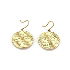 Tiffany & Co. Notes 18k Yellow Gold Round Wave Hook Dangle Earrings