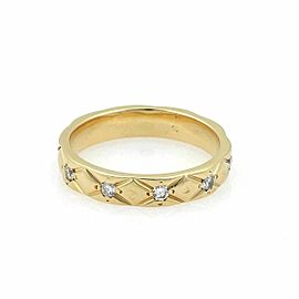 Chanel Matelasse Diamond 18k Yellow Gold Wedding Band Ring w/Cert